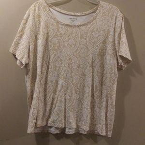 Paisley Tan & White Top, Size XXL